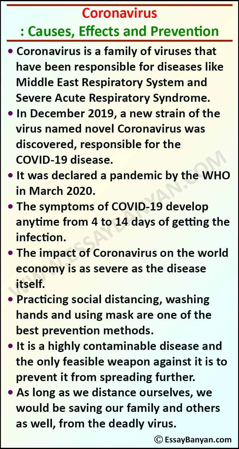 Essay on Causes, Effects and Prevention of Corona Virus