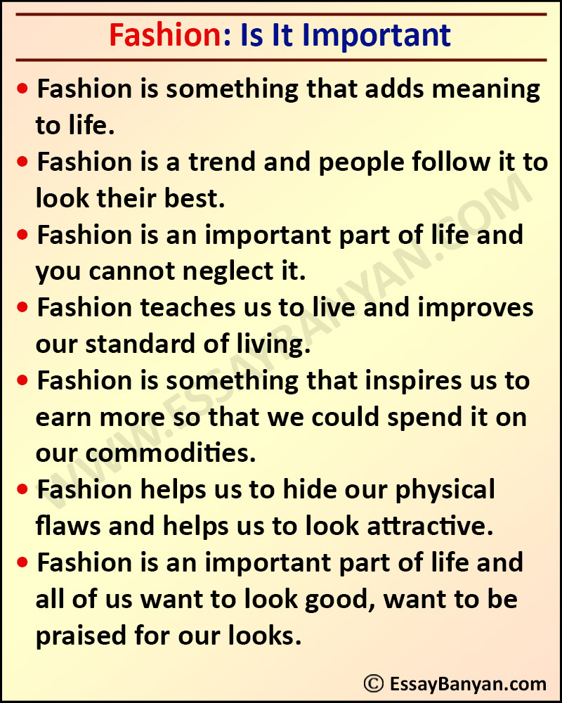 Essay on Is Fashion Important
