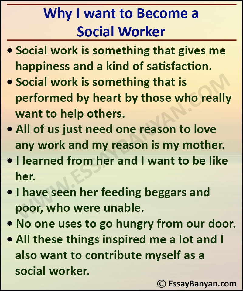 Essay on Why I want to Become a Social Worker